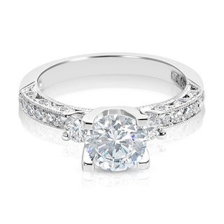 Tacori Platinum 3-stone 1/2 ct TDW Diamond Engagement Ring Setting with 6.5 mm Round CZ Center (G-H, VS1-VS2)