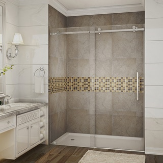Aston 60-inch Frameless Stainless Steel Finished Sliding Shower Door