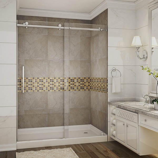 "Aston 60"" Frameless Stainless Steel Finished Sliding Shower Door with Right Hand Base"