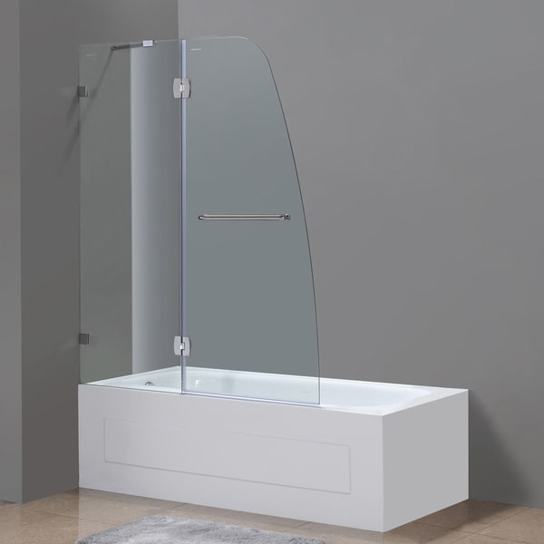 Aston 48-inch Stainless Steel Hardware Frameless Hinged Tub Door