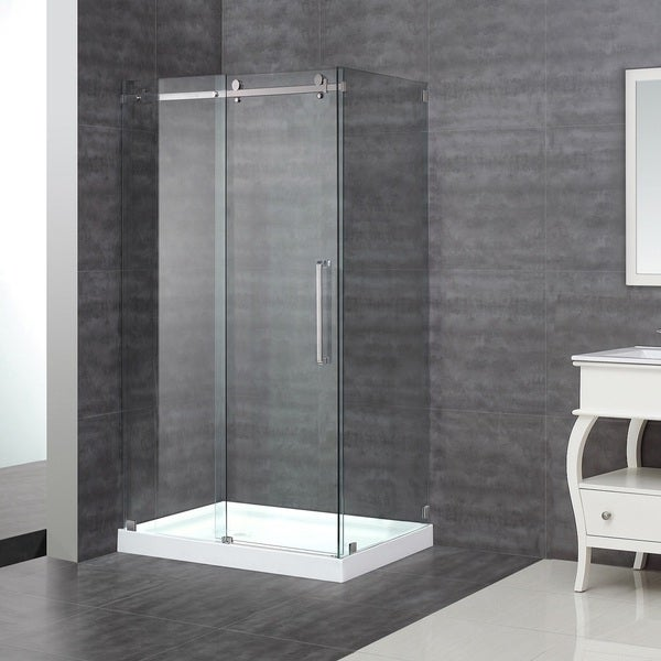 Aston Moselle 48-in x 35-in x 77.5-in Completely Frameless Sliding Shower Enclosure in Chrome with Base 14409561