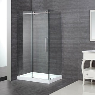 Aston 48 x 35-inch Sliding Frameless Shower Enclosure with Left Shower Base