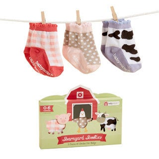 Girls' Barnyard Booties Farm Fun Socks Set (0-6 Months)