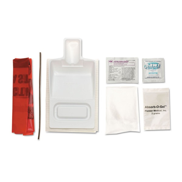 Medline Fluid Clean-Up Kit, 7 Pieces, Synthetic-Fabric Bag