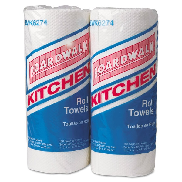 Boardwalk Perforated Paper Towel Rolls, 2-Ply, 11 x 9, White, 100/Roll, 30 Rolls/Carton