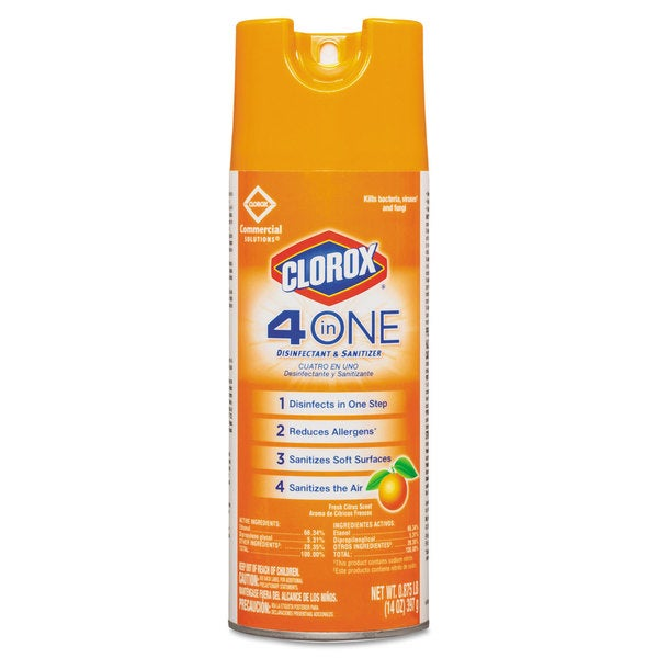 Clorox 4-in-One Disinfectant & Sanitizer, Citrus, 14oz Aerosol