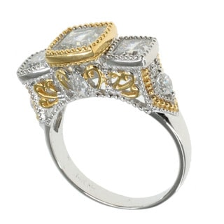 Michael Valitutti Sterling SIlver Two-tone Cubic Zirconia Ring
