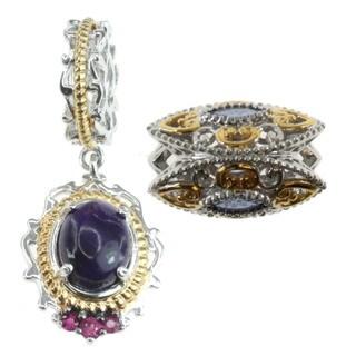 Michael Valitutti Sterling Silver Tanzanite, Sugalite and Pink Sapphire Charm Set