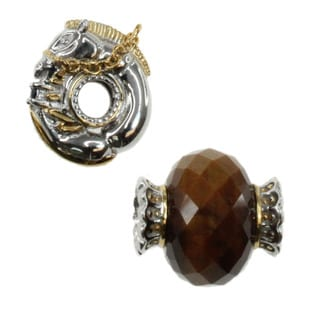 Michael Valitutti Sterling Silver Tigers Eye and Carved Horse Charm Set