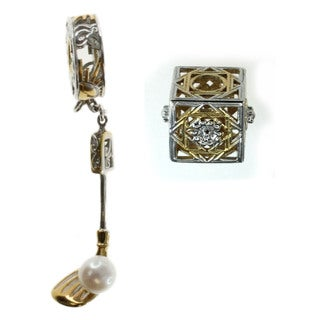 Michael Valitutti Sterling Silver Golf Club with Freshwater Pearl Golf Ball and Filigree Cube Charm Set (5 mm)