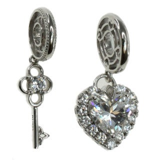 Michael Valitutti Sterling Silver Cubic Zirconia Heart and Key Charm Set