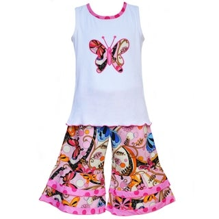 AnnLoren Boutique Girls' Spring Butterfly Tank with Capris