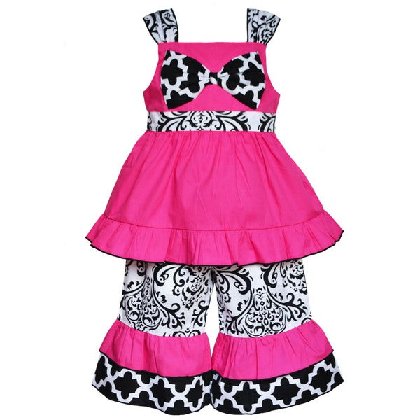 AnnLoren Boutique Girls' Hot Pink Tunic with Damask Capris