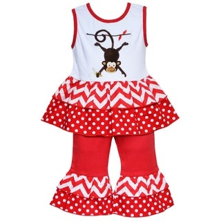 AnnLoren Boutique Girls' Chevron and Polka Dot Monkey Tunic with Capris