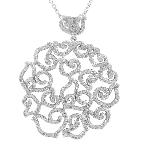 Sterling Silver Cubic Zirconia Lacy Design Filigree Large Pendent Necklace