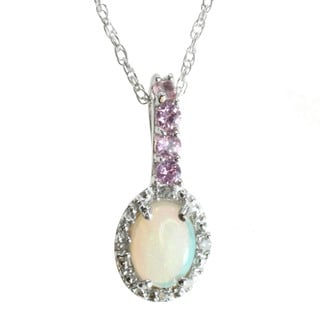 Michael Valitutti 10k White Gold Opal and Pink Sapphire Diamond Accent Necklace