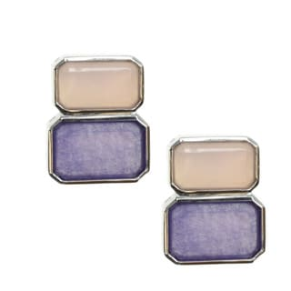 Michael Valitutti Sterling Silver Lavender and Purple Calcedony Earrings