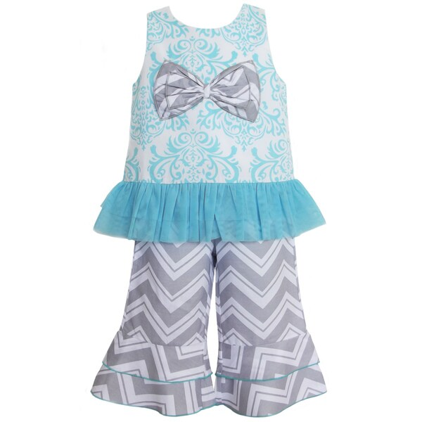 AnnLoren Boutique Girls' Blue Damask Tunic with Capris