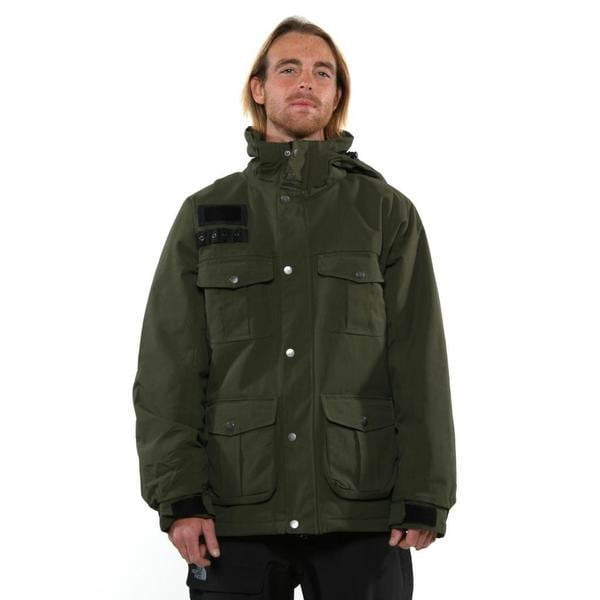 Pulse Men's Olive Drab Bomber Hooded Jacket