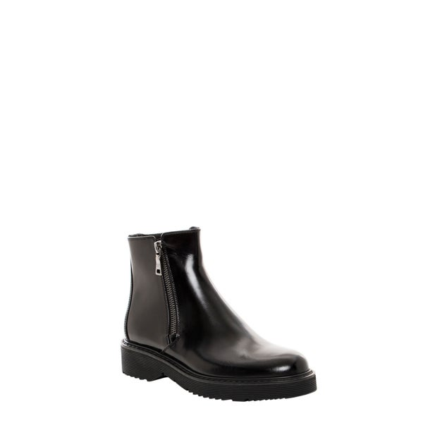 Prada Leather Zip-Trimmed Ankle Boots