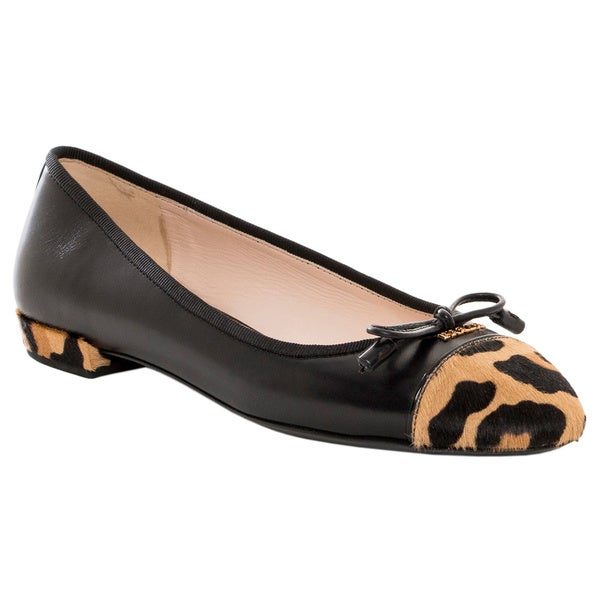 Prada Leopard Print Black Leather Ballet Flats