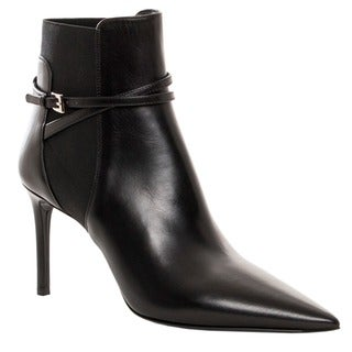 Prada Women's Black Leather Point-toe Ankle Boots