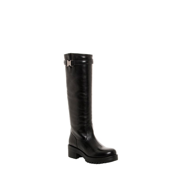 Prada Women's Black Leather Buckle-strap Lug Sole Boots