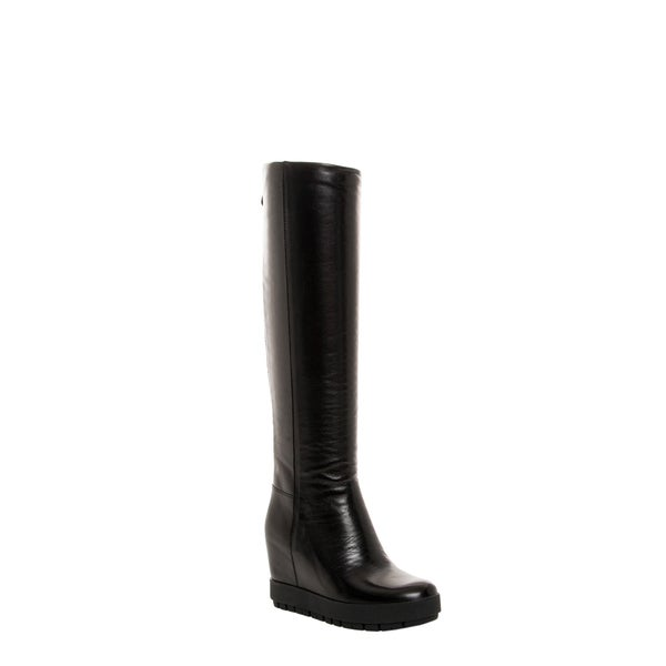Prada Women's Black Leather Hidden Wedge Knee-high Boots