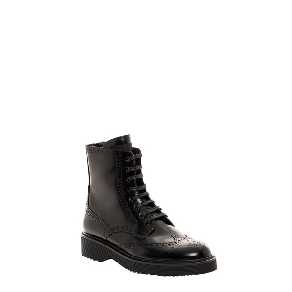 Prada Spazzolato Fume Lace-Up Black Boots