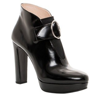 Prada Women's Black Leather Buckle-strap Platform Booties