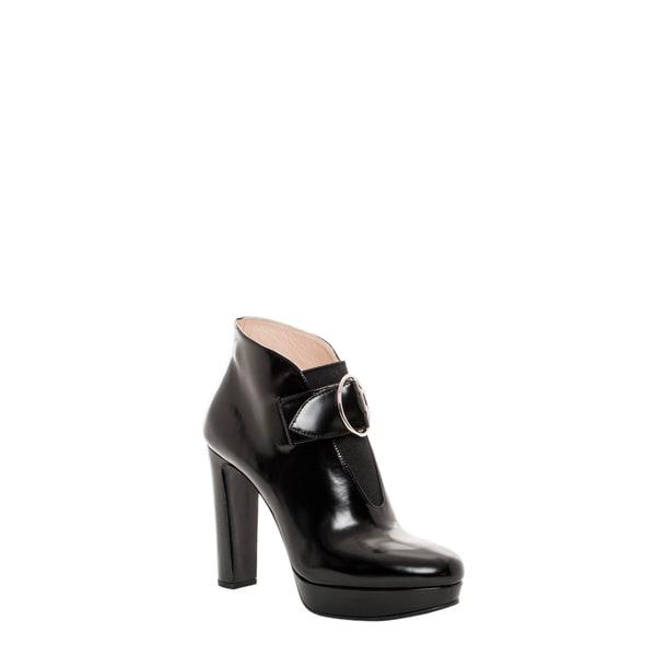 Prada Women's Black Leather Buckle-strap Platform Booties