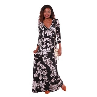 Hadari Women's Floral Brocade Pattern Maxi Dress
