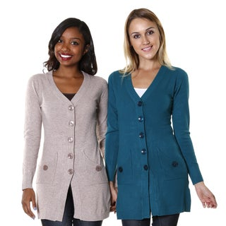 Hadari Women's Two-Set Bundle Open/ Button-Up Cardigan