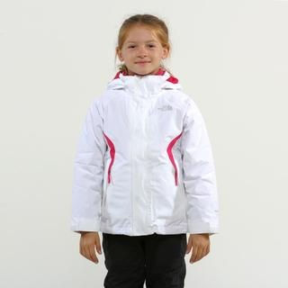 North Face Girl's Boundry TNF White & Passion pink Triclimate
