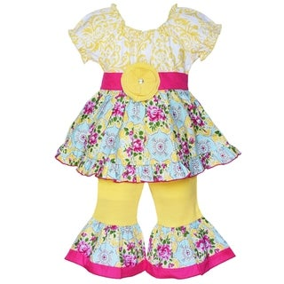 AnnLoren Boutique Girls' Yellow Damask and Floral Cotton Tunic with Capris