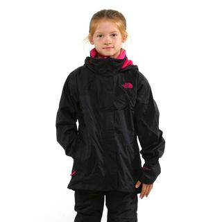 North Face Girl's Resolve TNF Black and Razzle Pink Jacket