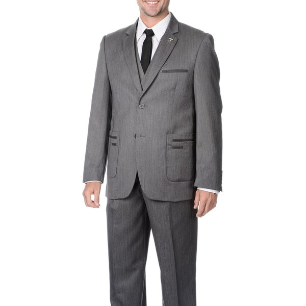 Falcone Men's Grey Check 3-piece Vested Suit