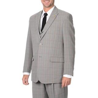 Falcone Men's Grey Plaid 3 Piece Vested Suit