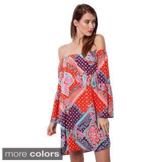 Peach Love CA Women's Printed Off-shoulder Dress