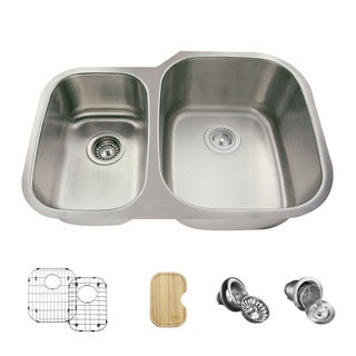 MR Direct 506 Kitchen Ensemble Stainless Steel Offset Double Bowl Sink