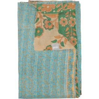 Taj Hotel Vintage Handmade Light Blue Floral Kantha Rectangular Throw Blanket