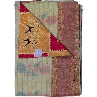 Taj Hotel Vintage Handmade Kantha Rectangular Orange/ Pink Throw Blanket