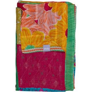 Taj Hotel Vintage Handmade Kantha Pink/ Yellow Rectangular Throw Blanket