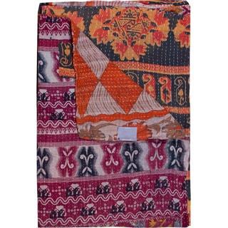 Taj Hotel Vintage Handmade Kantha Pink/ Blue Rectangular Throw Blanket