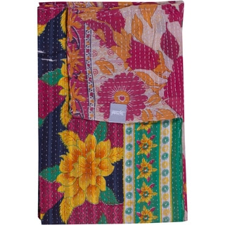 Taj Hotel Vintage Handmade Kantha Floral Multicolor Throw