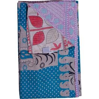 Taj Hotel Vintage Handmade Kantha Blue Rectangular Throw Blanket