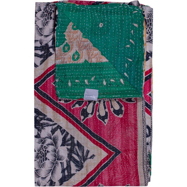 Taj Hotel Vintage Handmade Kantha Pink/ Green Rectangular Throw Blanket