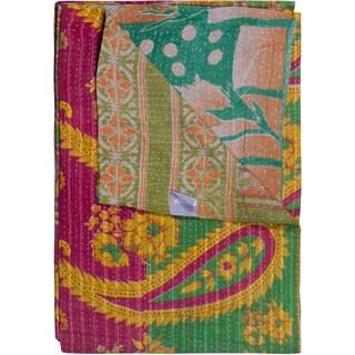 Taj Hotel Vintage Handmade Pink/ Green Kantha Rectangular Throw