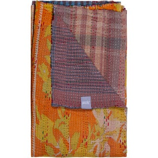 Taj Hotel Vintage Yellow/ Orange Handmade Kantha Rectangular Throw