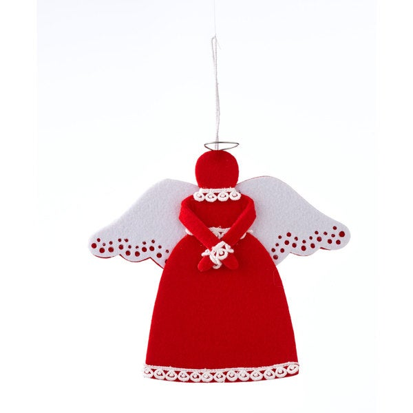 Sage & Co 8-inch x 7-inch Red And White Felt Angel Christmas Ornament (Pack of 6)